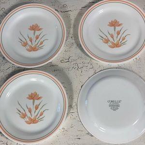 "4 Corelle Peach Floral 7 1/4"" Bread Plates"